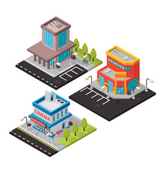 Isometric buildings isolated vector
