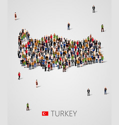 large group of people in form of turkey map vector image