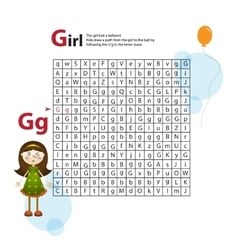 Letter Maze G This worksheet helps kids recognize vector image