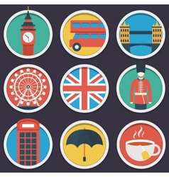 London flat circle icon set vector