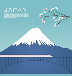 mount fuji in japan with sakura tree vector image