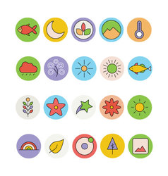 Nature colored icons 4 vector