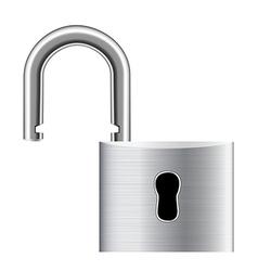 Open metal padlock - unlocked vector