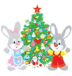 Rabbits and Christmas tree vector image vector image