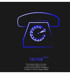 Retro telephone flat modern web button and space vector