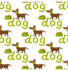 seamless background Happy dog with bowl vector image vector image