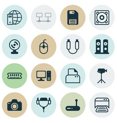 set of 16 computer hardware icons includes music vector image vector image