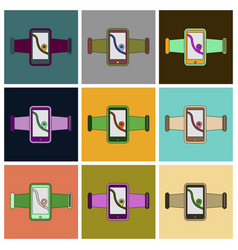 Set of icons in flat design smartphone for running vector