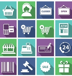 Set of modern flat shopping icons vector image vector image
