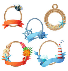 Set of sea frames ropes with anchors seashells vector