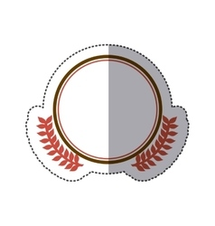 Sticker circular border with crown branch leaves vector