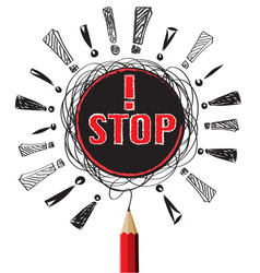stop red pencil pencil idea on white isolate vector image vector image
