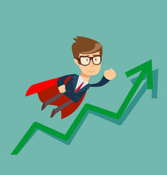 Super businessman with growing graph vector