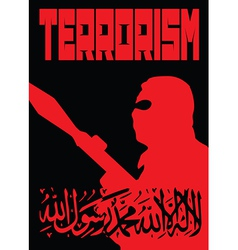 Terrorism poster black and red vector image vector image
