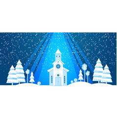 The church and christmas tree cut from white paper vector