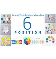 universal templates set infographics 6 positions vector image