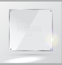 White square glass - light background and vector
