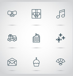 year icons set with greeting email butterfly knot vector image vector image