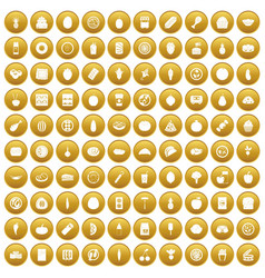 100 nutrition icons set gold vector image vector image