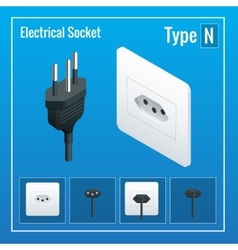 Isometric switches and sockets set type n ac vector