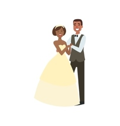 Black bride and groom newlywed couple in vector