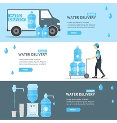 Water delivery service banner flat vector
