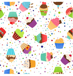 Colorful pattern with sweet cupcakes vector