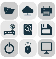 Laptop icons set collection of power on printing vector