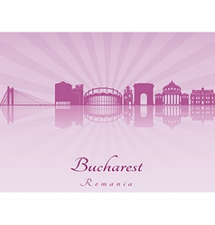 Bucharest skyline in purple radiant orchid vector