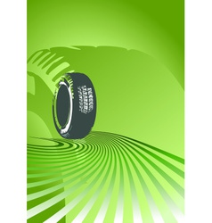Brand new tire on a green background vector