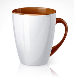 White cup with brown elements vector