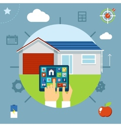 Smart house concept controlled from a tablet vector