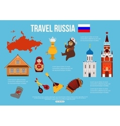 Russia travel background with place for text set vector