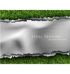 Metall background with shadows and grass vector