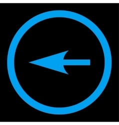 Sharp left arrow flat blue color rounded vector