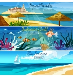 Seascape banner set vector