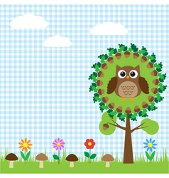 Cute owl sitting on oak vector