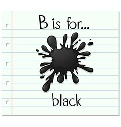 Flashcard letter B is for black vector image