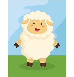Standing cute sheep cartoon vector