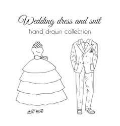 Wedding dress and suit  sketchy style vector