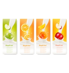 Set of banners with fruit and milk vector
