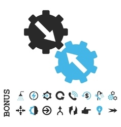 Gear integration flat icon with bonus vector