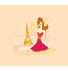 Beautiful fashion women in paris - card vector