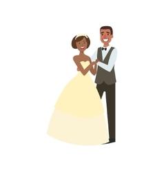 Black bride and groom newlywed couple in vector