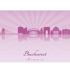 Bucharest skyline in purple radiant orchid vector