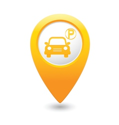 car parking icon on yellow pointer vector image vector image