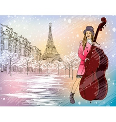 Christmas street performer in a snowy paris vector
