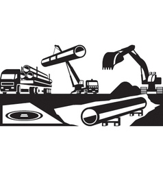 Construction of underground pipelines vector image