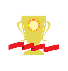Cup and red ribbon reward vector