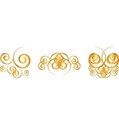 gold floral symbols vector image vector image